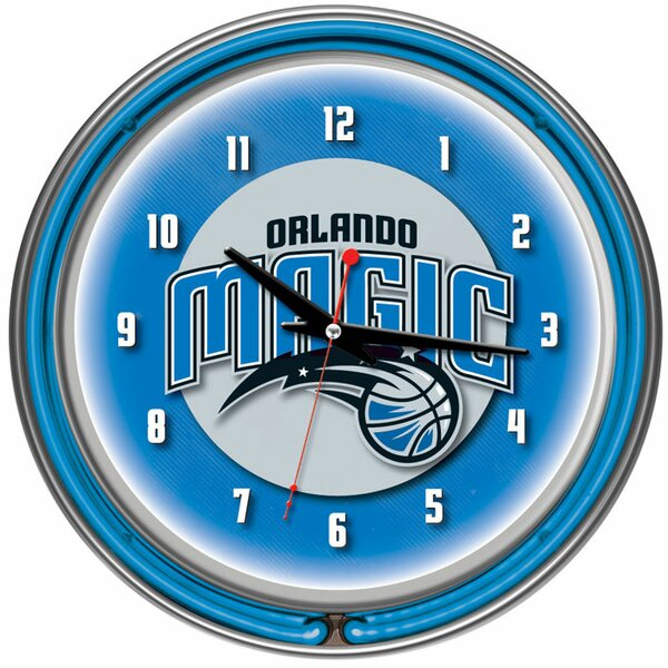 14.5 NBA Double Ring Neon Wall Clock by Trademark Global