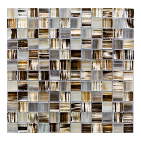 Handicraft 1 x 1 Glass Mosaic Tile in Beige Orange by Abolos