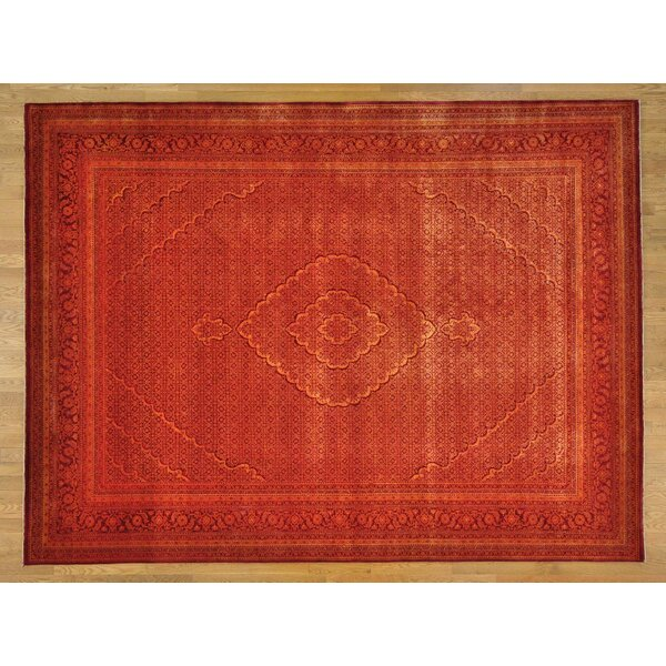 One-of-a-Kind Beaton Hand-Knotted Orange Wool/Silk Area Rug by Isabelline