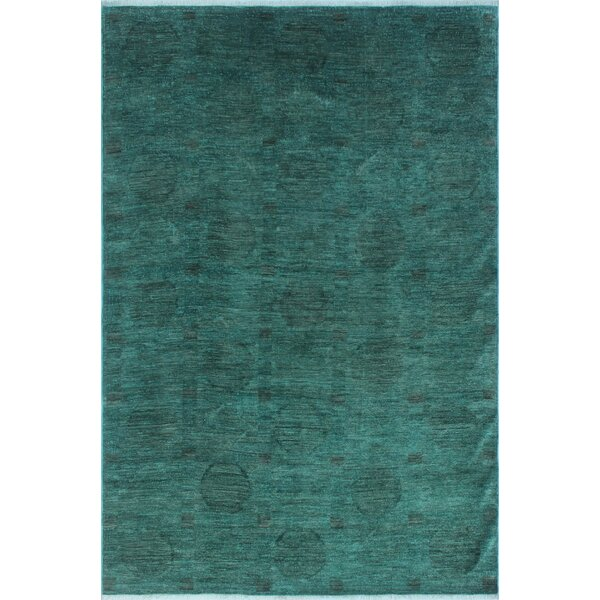One-of-a-Kind Collette Teal Hand-Knotted Wool Green Area Rug by Isabelline
