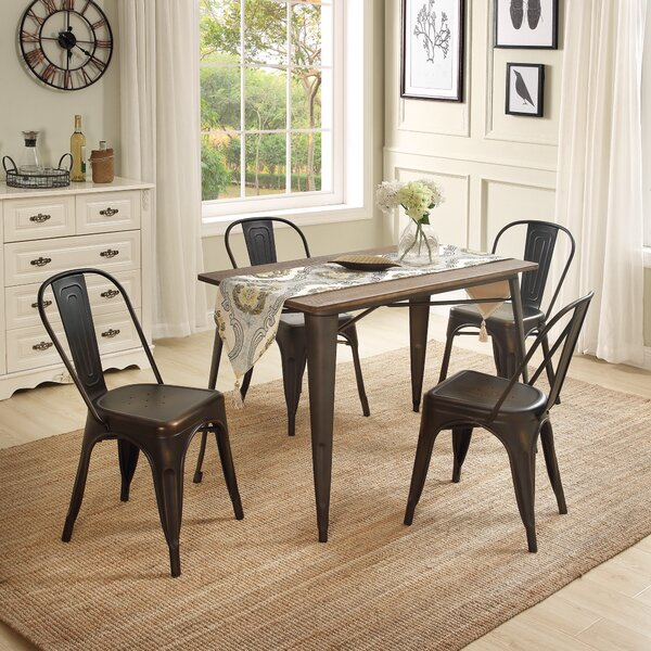 Javier Metal Slat Back Stacking Side Chair (Set Of 4) By Williston Forge