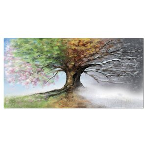 'Tree with Four Seasons' Painting Print on Wrapped Canvas by Design Art
