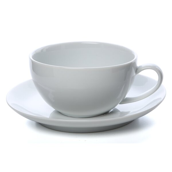 Royal Coupe White Oversized 10 oz. Teacup and Saucer (Set of 6) by Ten Strawberry Street