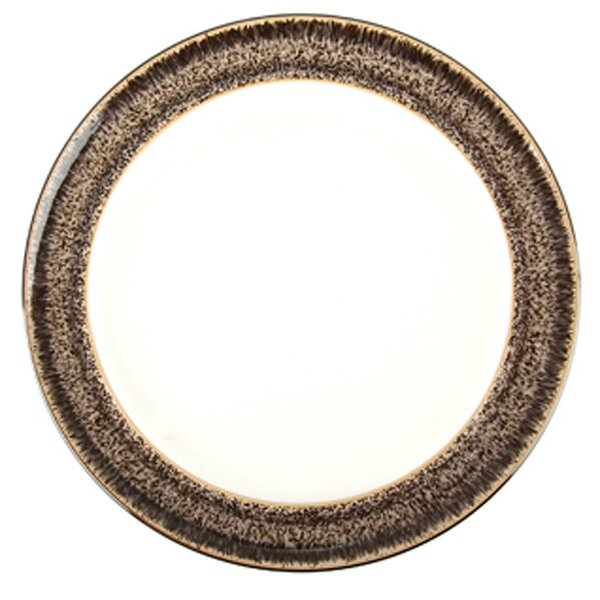 Praline and Praline Noir Rimmed 8 Wide Tea Plate by Denby