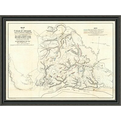 """Civil War Map of the Field of Shiloh; Near Pittsburgh Landing; Tennessee; 1862' Framed Print East Urban Home Size: 20"""""""" H x 44"""""""" W x 1.5"""""""" D -  EUAH2946 39637247"""