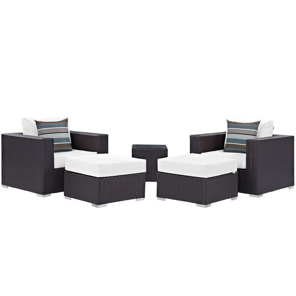 Brentwood 5 Piece Rattan Seating Group with Cushions by Sol 72 Outdoor