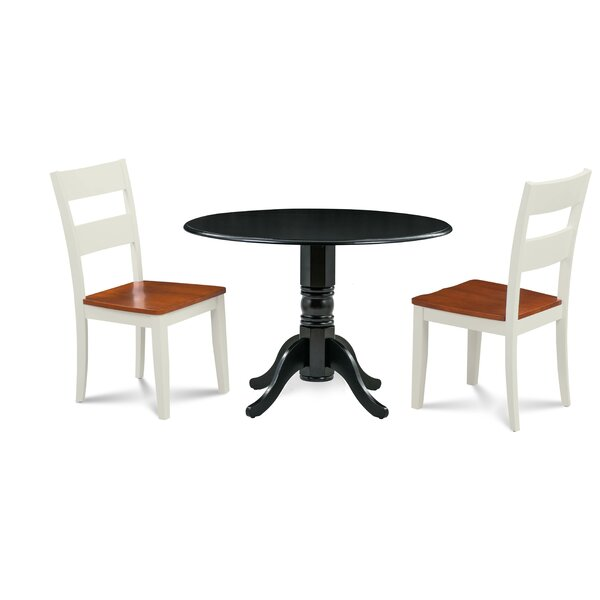 Horan 3 Piece Drop Leaf Solid Wood Dining Set by August Grove