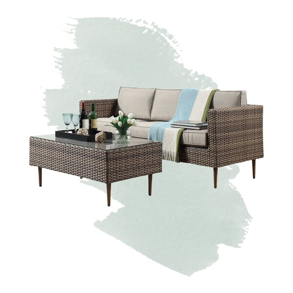 Trevor 2 Piece Rattan Sofa Seating Group with Cushions by Foundstone