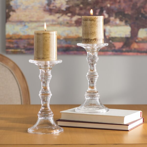 Glass Candlestick by Charlton Home