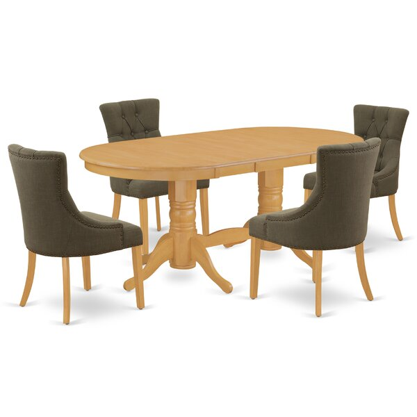 Nowayton 5 Piece Extendable Solid Wood Dining Set by Winston Porter Winston Porter