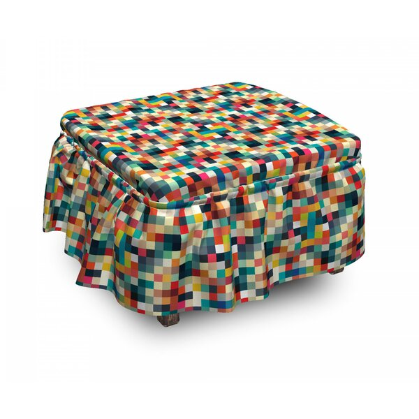 Squares Grid Ottoman Slipcover (Set Of 2) By East Urban Home