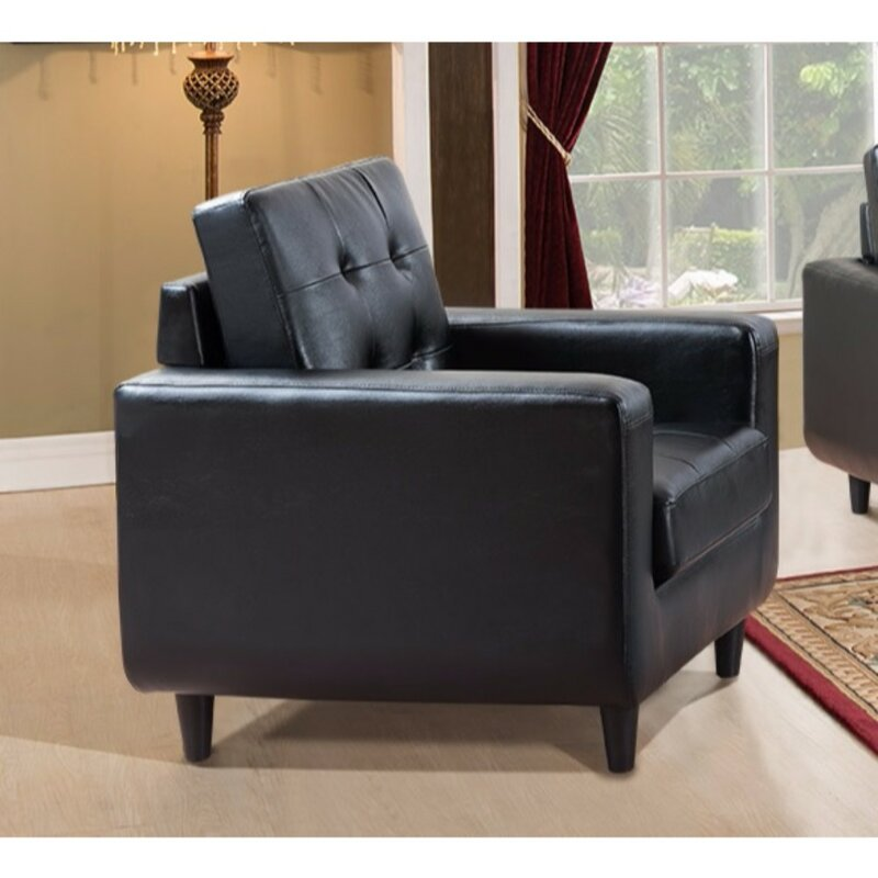 Drouin Contemporary Bonded Pu Leather Armchair By Latitude
