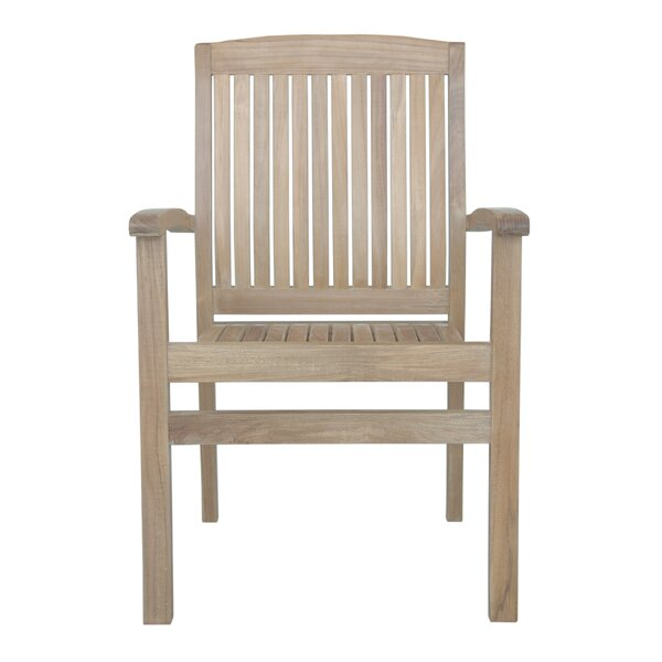Bowker Stacking Teak Patio Dining Chair with Cushion (Set of 4)