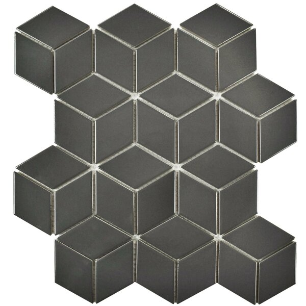 Retro Rhombus 1.88 x 3.18 Porcelain Mosaic Tile in Glossy Gray by EliteTile