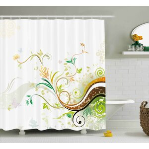 Trista Abstract Modern Flowers Ivy Leaves Buds Blossoms Wavy Lines Print Shower Curtain