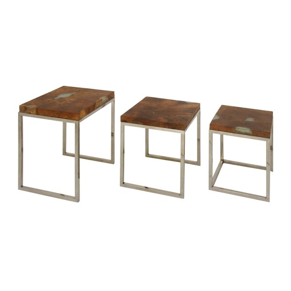 Voegele Teak/Stainless Steel 3 Piece End Table Set