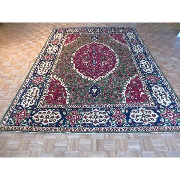 One-of-a-Kind Railsback Hand-Knotted Wool Green Area Rug by Astoria Grand