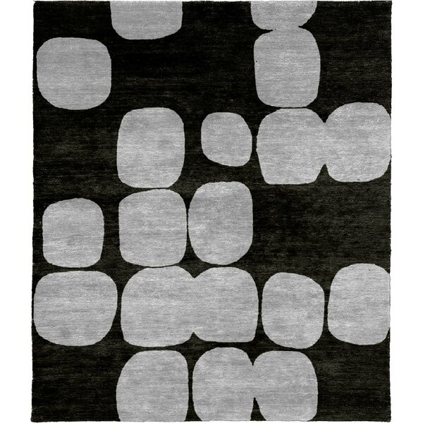 One-of-a-Kind Werts Hand-Knotted Black/Gray 8' Round Wool Area Rug
