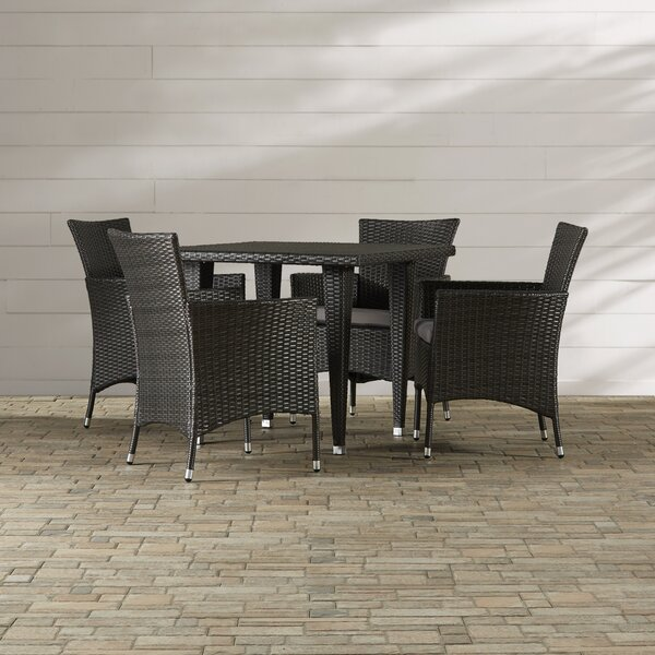 Isiah 5 Piece Dining Set with Cushions by Red Barrel Studio