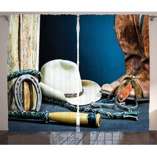 Western Equestrian Backdrop With Antique Horseshoe Hat Cowboy Texas Style Graphic Print Text Semi Sheer Rod Pocket Curtain Panels Set Of 2