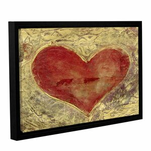 Red Heart Of Gold by Elena Ray Framed Painting Print on Wrapped Canvas by ArtWall