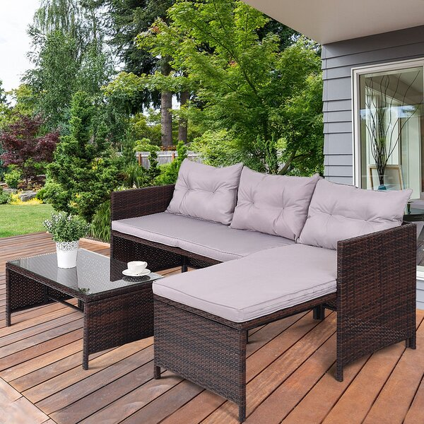 Ediz Deck Couch Outdoor Patio 3 Piece Rattan Sofa Seating Group with Cushions by Latitude Run