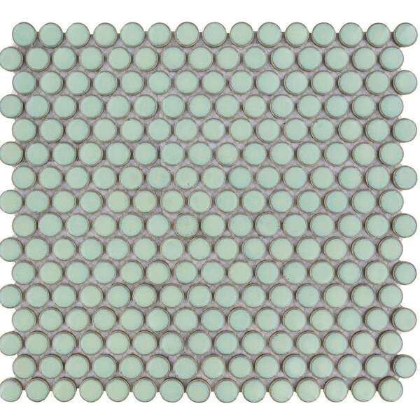 Venice Penny Retro Edge Glossy 0.75 x 0.75 Porcelain Mosaic Tile in Green by The Mosaic Factory