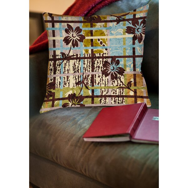 Floral Study in Plaid Printed Throw Pillow by Manual Woodworkers & Weavers