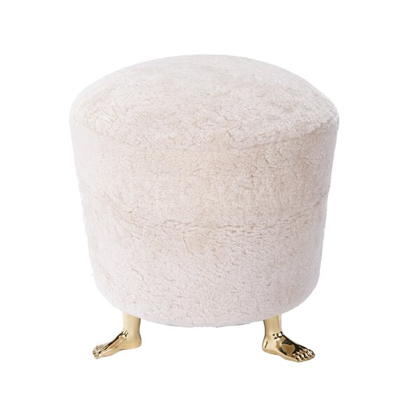Shearling Ottoman by Worlds Away