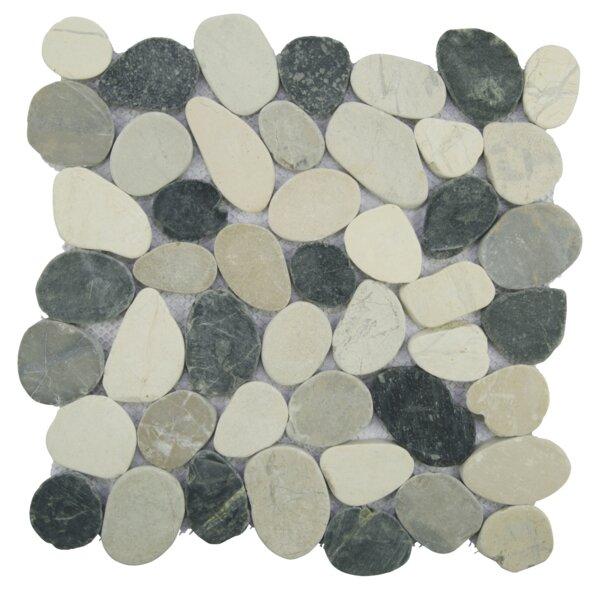 Sliced Random Sized Natural Stone Pebble Tile in Gray/White by Pebble Tile