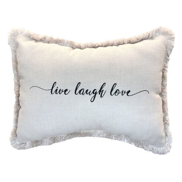 Vijaya Live Laugh Love Sunbrella Indoor / Outdoor Lumbar Pillow