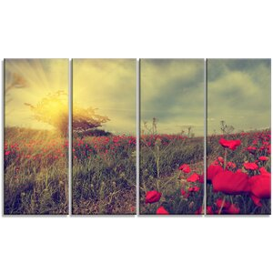 'Vintage Photo of Poppies at Sunset' 4 Piece Photographic Print on Wrapped Canvas Set by Design Art