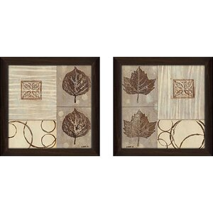 'Nature's Design' 2 Piece Framed Acrylic Painting Print Set Under Glass by Andover Mills