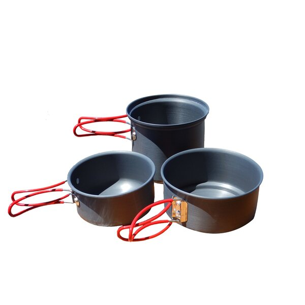 Alpine Mountain Gear Backpacker Hard Anodized 3 Piece Non-Stick Cookware Set by Caddis Sports