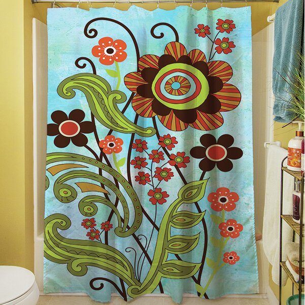 Flower Power Stems Shower Curtain by Manual Woodworkers & Weavers