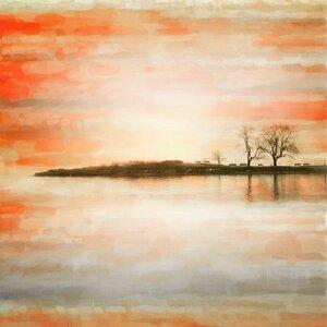 'Lake Benches' by Parvez Taj Painting Print on Wrapped Canvas by Parvez Taj