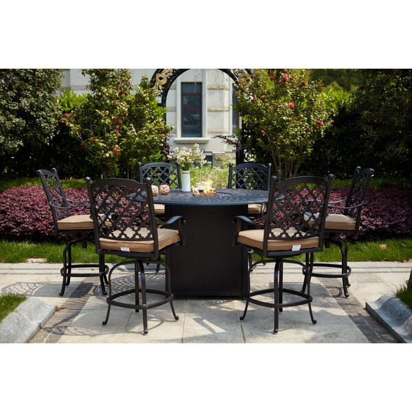 Milone 7 Piece Bar Height Dining Set with Firepit by Canora Grey