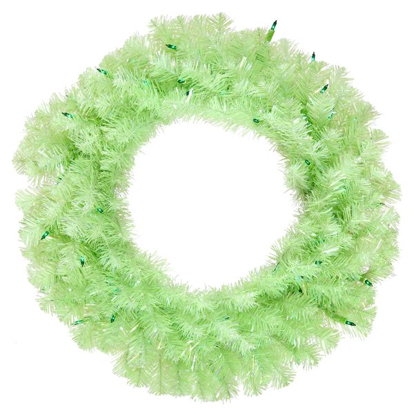 24 Lighted Artificial Wide Cut Christmas Wreath by Vickerman