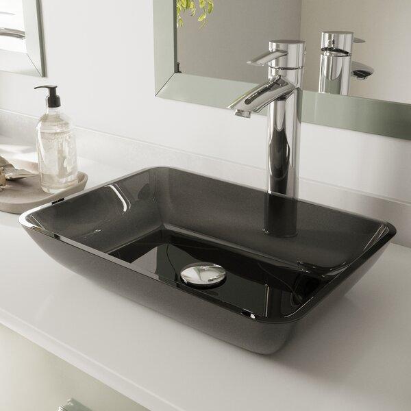 Sheer Tempered Glass Rectangular Vessel Bathroom Sink by VIGO