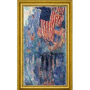 'The Avenue in the Rain' by Frederick Childe Hassam Framed Painting Print by Canvas Art USA