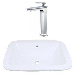 Reviews Ceramic Rectangular Dual Mount Bathroom Sink with Faucet and Overflow ByRoyal Purple Bath Kitchen