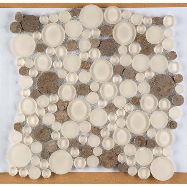 Lucente 12 x 12 Glass Stone Blend Circle Mosaic Tile in Lido by Emser Tile