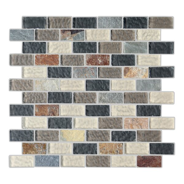 Cheyenne 1 x 2 Glass and Natural Stone Mosaic Tile in 4 Color Blend by Mulia Tile
