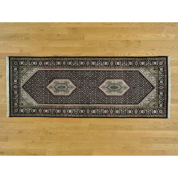 One-of-a-Kind Beaton Bidjar Hand-Knotted Black Wool/Silk Area Rug by Isabelline