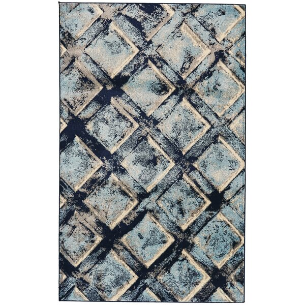 Recker Aqua/Navy Area Rug by Bloomsbury Market