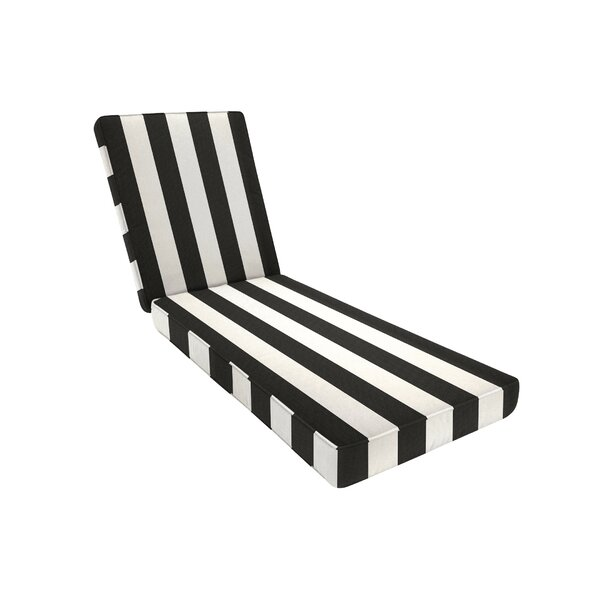 Removable Double-Piped Indoor/Outdoor Sunbrella Chaise Seat Cushion by Three Posts