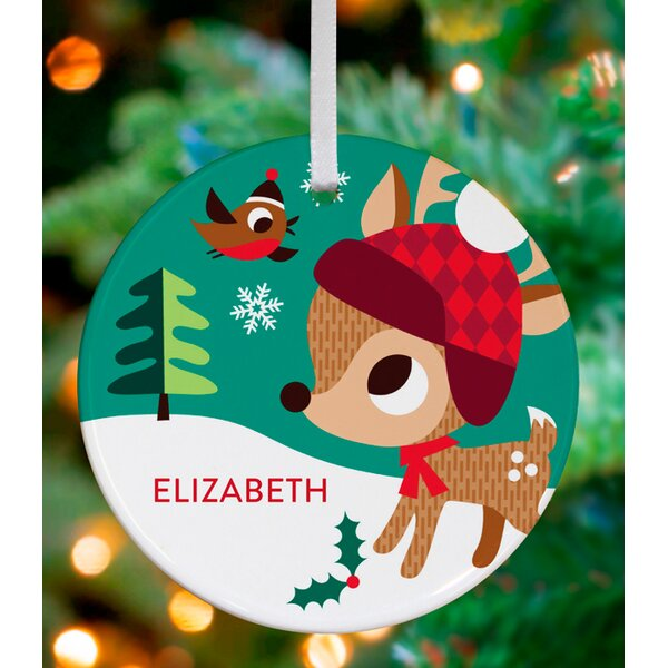 Deer and Bird Friend Personalized Ornament by Amy Blay by Oopsy Daisy