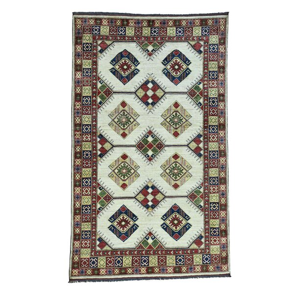 One-of-a-Kind Holloman Ersari Hand-Knotted Wool Green/Ivory Area Rug by Bloomsbury Market