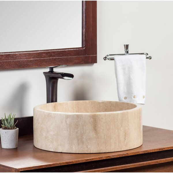Valova Stone Circular Vessel Bathroom Sink by Laguna Marble
