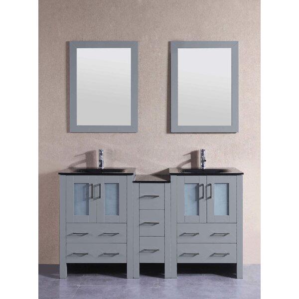 Jocelyn 60 Double Bathroom Vanity Set with Mirror by Bosconi